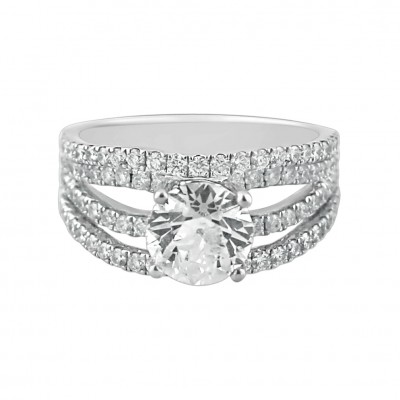 Diamond Engagement Ring White Gold DI 1.03CT & CDI 1.68 Micro Pave' & Prong 5.32 Gr
