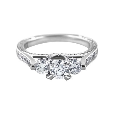 Diamond Engagement Ring White Gold CDI .44CT DI 1.61CT Micro Pave' & Prong