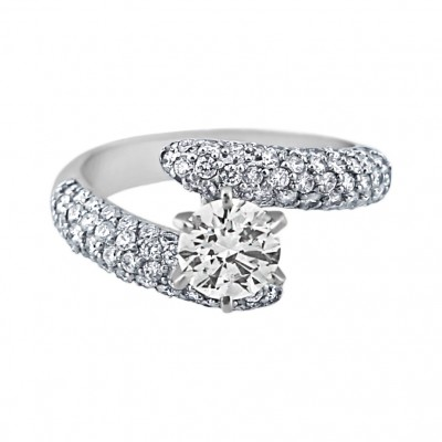 Diamond Engagement Ring White Gold CDI .85CT & SDI .92CT Micro Pave' & Prong