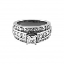 Diamond Engagement Ring White Gold CDI 1.0CT & SDI 1.01CT Pave' & Prong 13.2 Gr