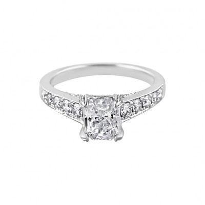 Diamond Engagement Ring White Gold .6 CT C DI 1.18CT Pave' & Prong