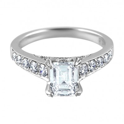 Diamond Engagement Ring White Gold DI. .6 CT CDI 1.10 CT Prong