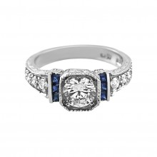Diamond Engagement Ring White Gold DI. C. 1.0 CT & DI. S. .20 CT & .22 CT Prong