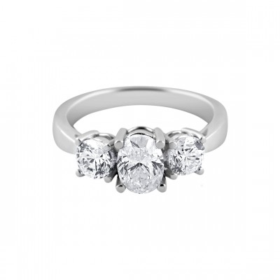 Diamond Engagement Ring White Gold DI. C. 1.00 CT & DI. S 0.51 CT Micro Pave' & Prong