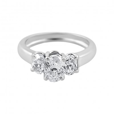 Diamond Engagement Ring White Gold DI. C 1.89CT & DI .42CT Prong