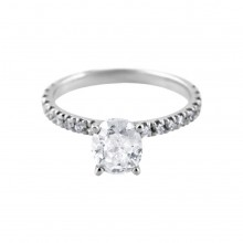 Diamond Engagement Ring White Gold CDI 1.0CT SDI.25CT Prong