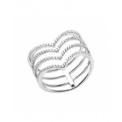 V-Shaped White Diamond Micro Pave' Ring