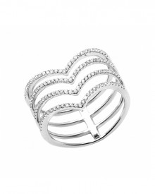 V-Shaped White Diamond Micro Pave' Ring