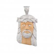 2.8 Inch Diamond Jesus Head Pendant White Gold 7.5 Ct Micro Pave' 34.3 Gr