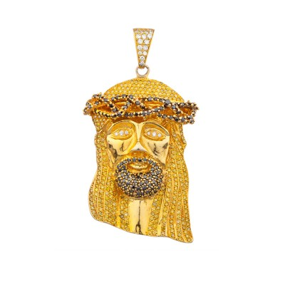 3 Inch White, Yellow & Black Diamond Jesus Head Pendant Yellow Gold 15.0 Ct Pave' 122.9 Gr