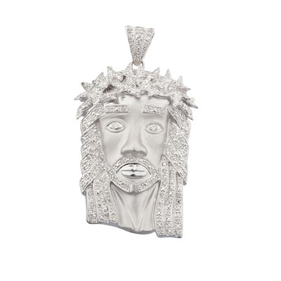 2.3 Inch Diamond Jesus Head Pendant White Gold .85 Ct Micro Pave' 20.1 Gr