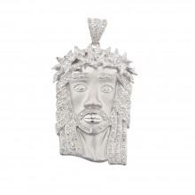 2.3 Inch Diamond Jesus Head Pendant White Gold .85 Ct Micro Pave' 20.1 Gr