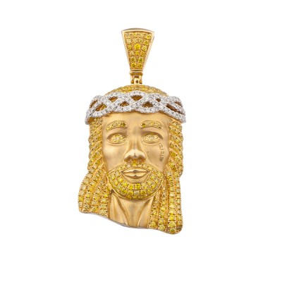 2.1 Inch White & Yellow Diamond Jesus Head Pendant Yellow 10K Gold 3.6 Ct Micro Pave' 18.3 Gr