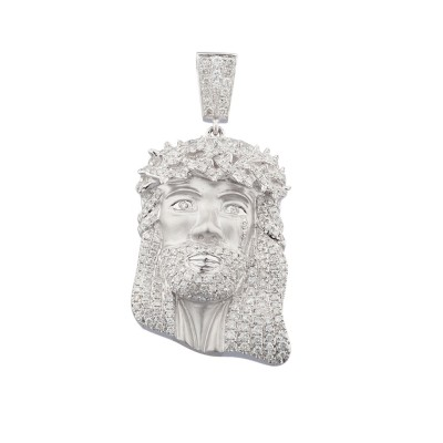 2 Inch Diamond Jesus Head Pendant White Gold 3.25 Ct Micro Pave' 17.6 Gr