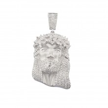 2 Inch Diamond Jesus Head Pendant White Gold 3.25 Ct Micro Pave' 17.6 Gr
