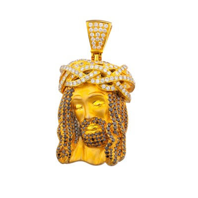 2 Inch White & Black Diamond Jesus Head Pendant Yellow Gold 3.95 Ct Micro Pave' 24.4 Gr