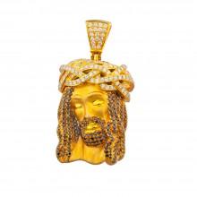 2 Inch White & Black Diamond Jesus Head Pendant Yellow Gold 3.95 Ct Micro Pave' 24.4 Gr