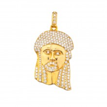 1.9 Inch Diamond Jesus Head Pendant Yellow 14K Gold 5.0 Ct Micro Pave' 23.4 Gr