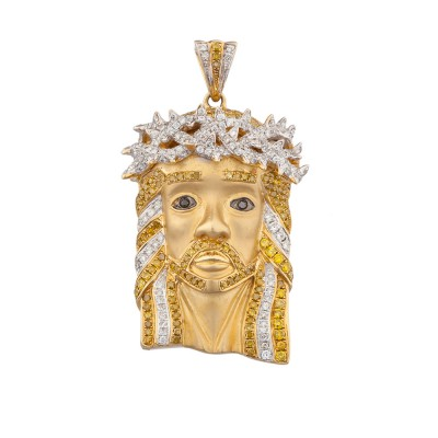 1.8 Inch White & Yellow Diamond Jesus Head Pendant Yellow Gold 2.36 Ct Micro Pave' 20.6 Gr