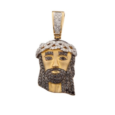 1.5 Inch Black Diamond Jesus Head Pendant Yellow Gold 1.45 Ct Micro Pave' 7.4 Gr