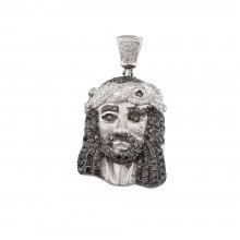 1 Inch White & Black Diamond Jesus Head Pendant White 10K Gold .75 Ct Micro Pave' 3.7 Gr