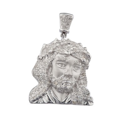 1.1 Inch Diamond Jesus Head Pendant White Gold .75 Ct Micro Pave' 4.1 Gr