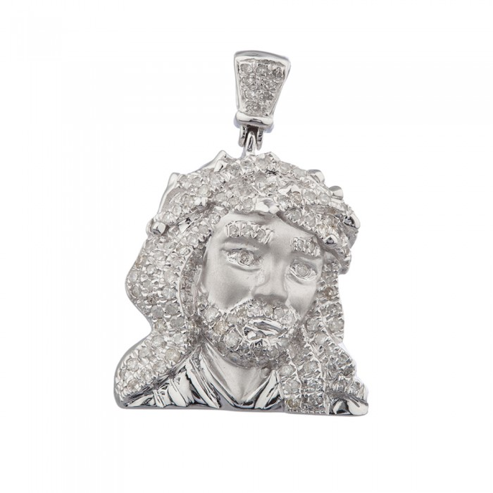 11 inch diamond jesus head pendant white gold 75 ct micro pave 41 gr aloadofball Image collections