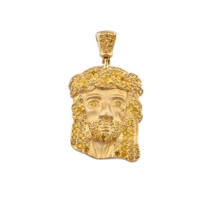 1 Inch Yellow Diamond Jesus Head Pendant Yellow Gold .70 Ct Micro Pave' 3.5 Gr