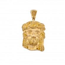 1 Inch Yellow Diamond Jesus Head Pendant Yellow Gold .70 Ct Micro Pave' 3.5 Gr