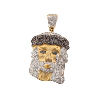 1 Inch White & Black Diamond Jesus Head Pendant Yellow Gold .70 Ct Micro Pave' 3.7 Gr