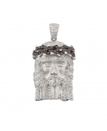 1.3 Inch Diamond Jesus Head White Gold 1.35 Ct Micro Pave' 7.7 Gr