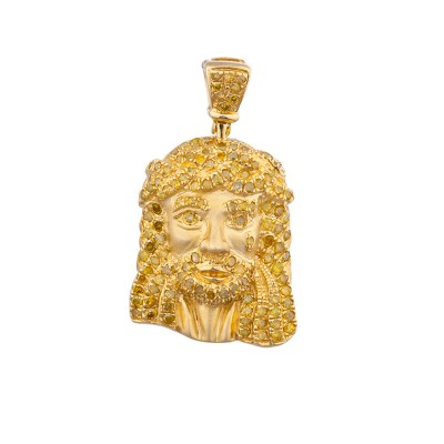 1 Inch Yellow Diamond Jesus Head Pendant Yellow Gold .75 Ct Micro Pave' 3.7 Gr