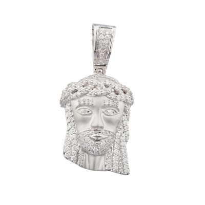1.5 Inch Diamond Jesus Head Pendant White Gold 1.35 Ct Micro Pave' 7.5 Gr