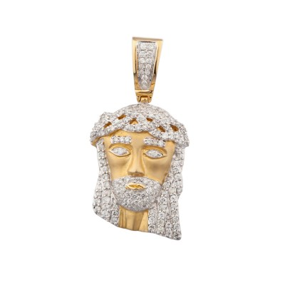 1.5 Inch Diamond Jesus Head Pendant Yellow 10K Gold 1.35 Ct Micro Pave' 7.5 Gr