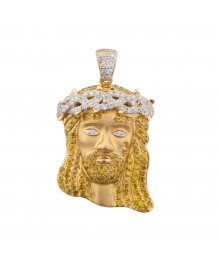 1.3 Inch White & Yellow Diamond Jesus Head Pendant White & Yellow 10K Gold 1.4 Ct Micro Pave' 7 Gr