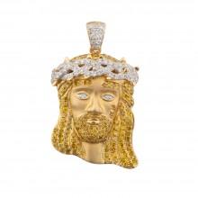 1.3 Inch White & Yellow Diamond Jesus Head Pendant White & Yellow 10K Gold 1.4 Ct Micro Pave' 7 Gr