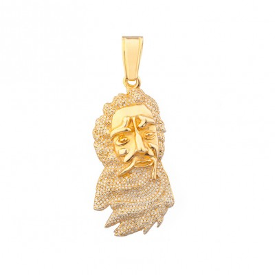 Diamond Jesus Head Pendant Yellow Gold 3.5 Ct Micro Pave' 20.6 Gr