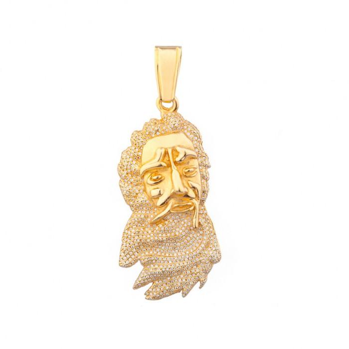 Diamond jesus head pendant yellow gold 35 ct micro pave 206 gr mozeypictures Gallery