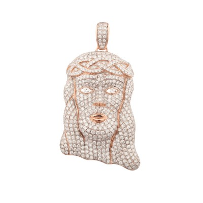 2 Inch Diamond Jesus Head Pendant Rose Gold 6.23 Ct Micro Pave' 15.19 Gr