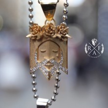 """The Keeper"" Jesus Head Pendant 14K Gold 1 Ct Micro Pave' 21 Gr"