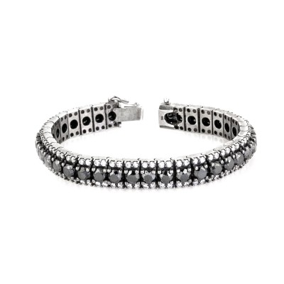 35 Carats White & Black Diamond Prong Tennis Bracelet