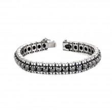 35 Carats White & Black Diamond Prong Tennis Bracelet