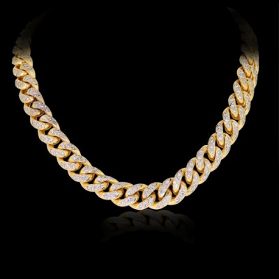 White Diamond Yellow Gold Necklace
