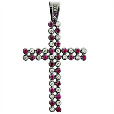 White & Red Diamond & Ruby Cross Pendant White Gold Pave' & Prong