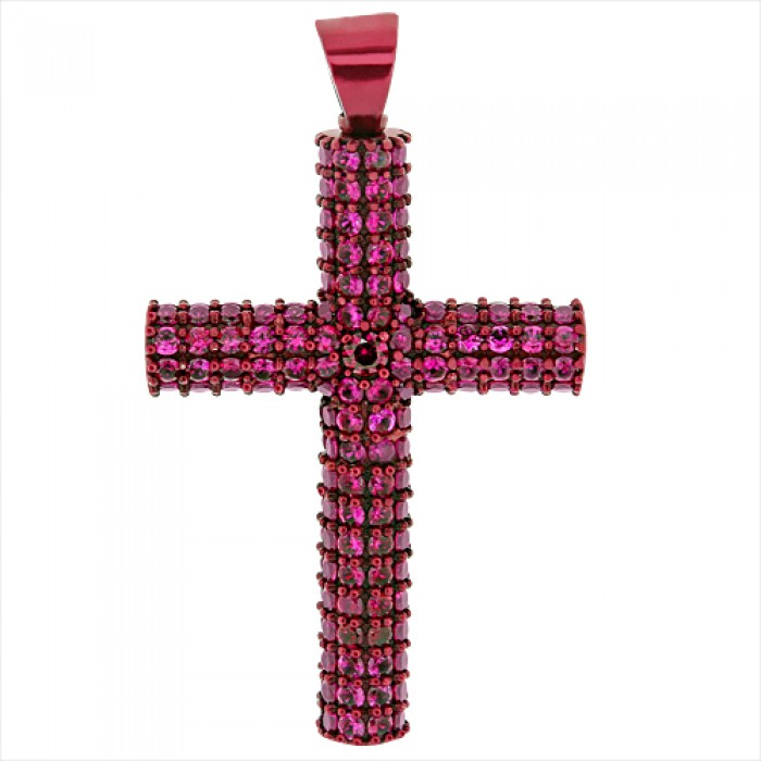 Red ruby cross pendant red gold pave prong aloadofball Choice Image