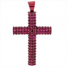 Red Ruby Cross Pendant Red Gold Pave' & Prong