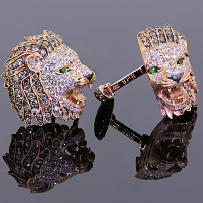 Diamond Lion Head Cufflinks