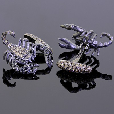 Black Brown Diamond Scorpion Cufflinks