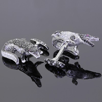 White Black Diamond Alligator Cufflinks