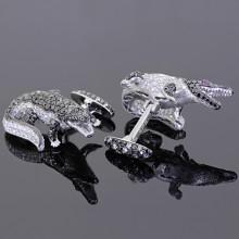White Black Diamond Alligator Cufflinks